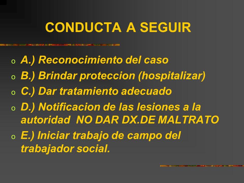 CONDUCTA A SEGUIR o A.) Reconocimiento del caso o B.) Brindar proteccion (hospitalizar) o C.) Dar tratamiento adecuado o D.) Notificacion de las lesio