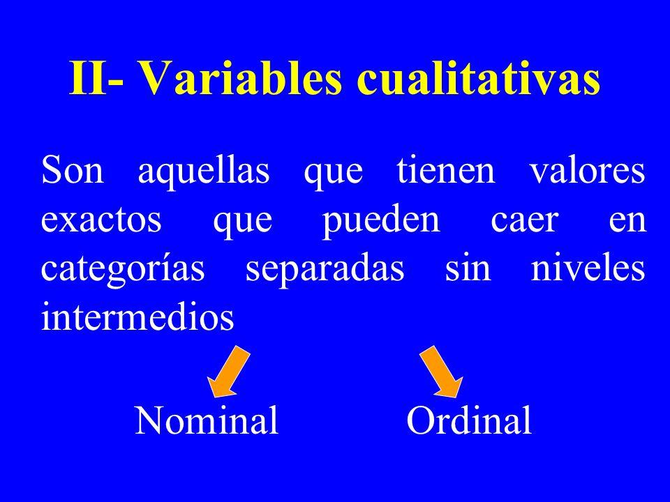 II- Variables cualitativas Son aquellas que tienen valores exactos que pueden caer en categorías separadas sin niveles intermedios NominalOrdinal