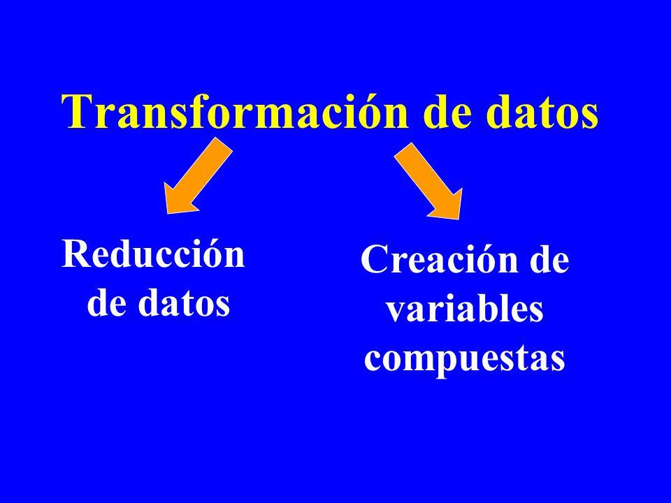 Transformación de datos Reducción de datos Creación de variables compuestas
