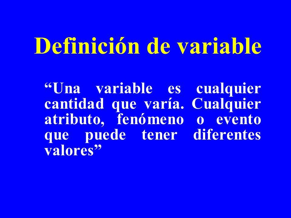 Una variable es cualquier cantidad que varía. Cualquier atributo, fenómeno o evento que puede tener diferentes valores Definición de variable