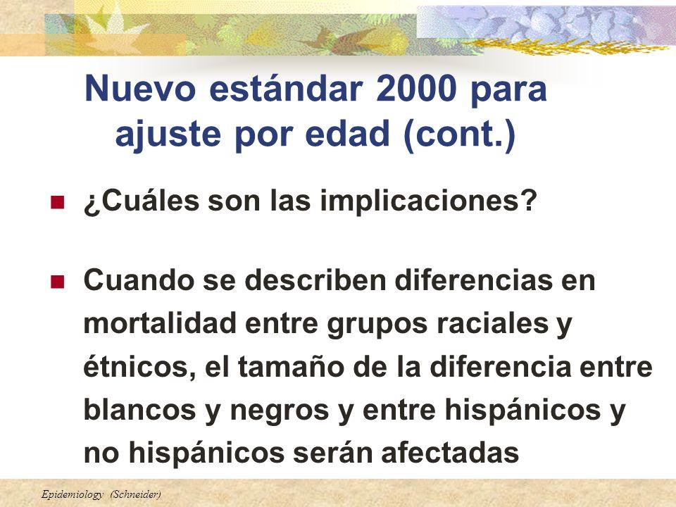 Epidemiology (Schneider) Nuevo estándar 2000 para ajuste por edad (cont.) ¿Cuáles son las implicaciones? Cuando se describen diferencias en mortalidad