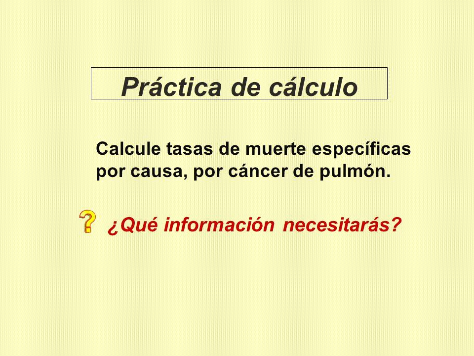 Práctica de cálculo Calcule tasas de muerte específicas por causa, por cáncer de pulmón. ¿Qué información necesitarás?