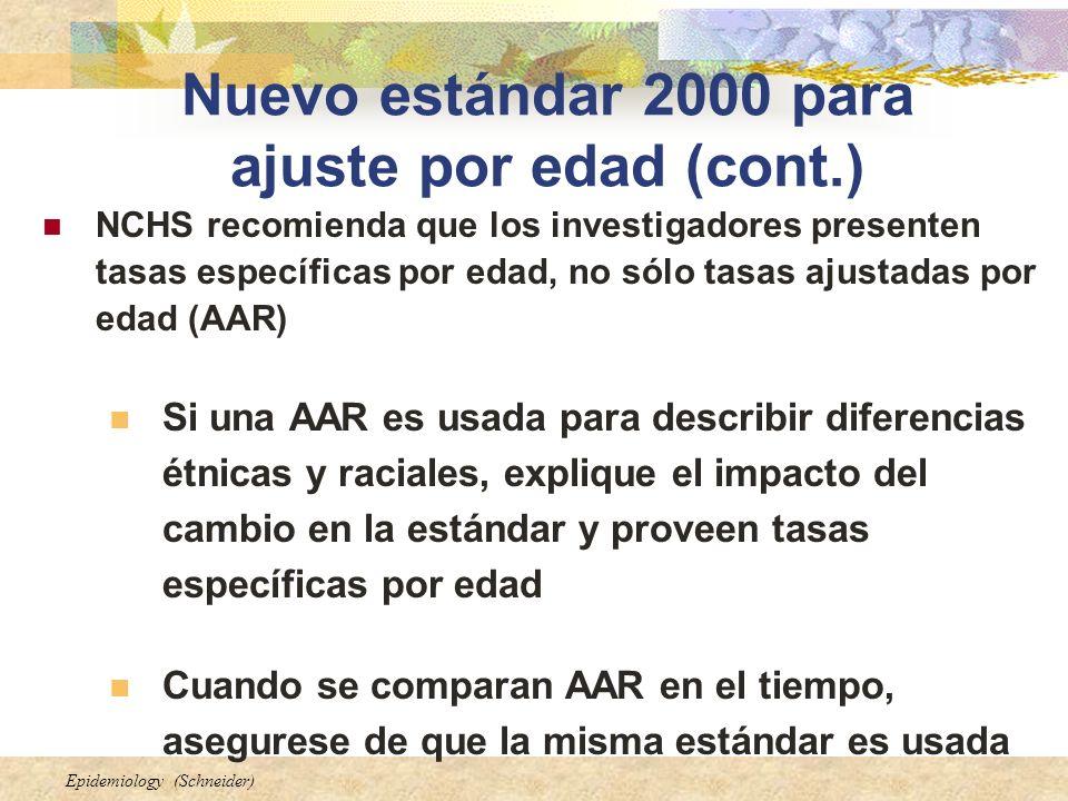 Epidemiology (Schneider) Nuevo estándar 2000 para ajuste por edad (cont.) NCHS recomienda que los investigadores presenten tasas específicas por edad,