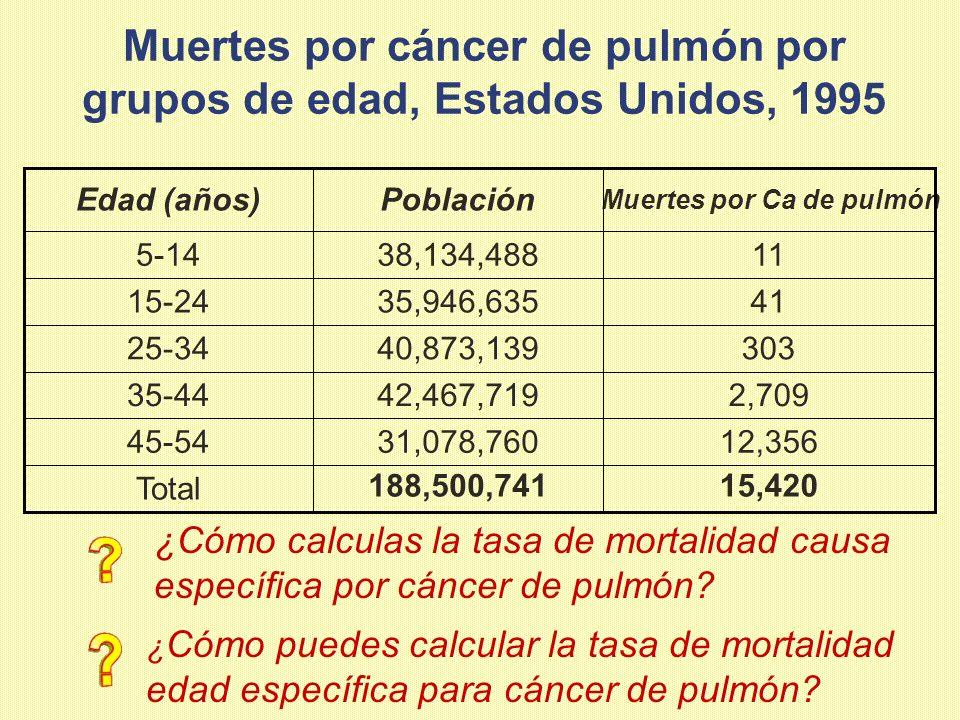 Muertes por cáncer de pulmón por grupos de edad, Estados Unidos, 1995 15,420188,500,741Total 12,35631,078,76045-54 2,70942,467,71935-44 30340,873,1392