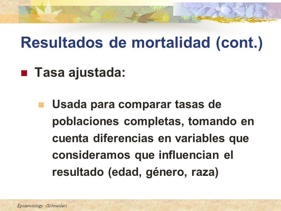Epidemiology (Schneider) Resultados de mortalidad (cont.) Tasa ajustada: Usada para comparar tasas de poblaciones completas, tomando en cuenta diferen