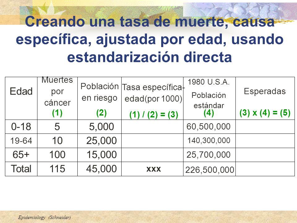 Epidemiology (Schneider) Creando una tasa de muerte, causa específica, ajustada por edad, usando estandarización directa (3) x (4) = (5)(4) (1) / (2)