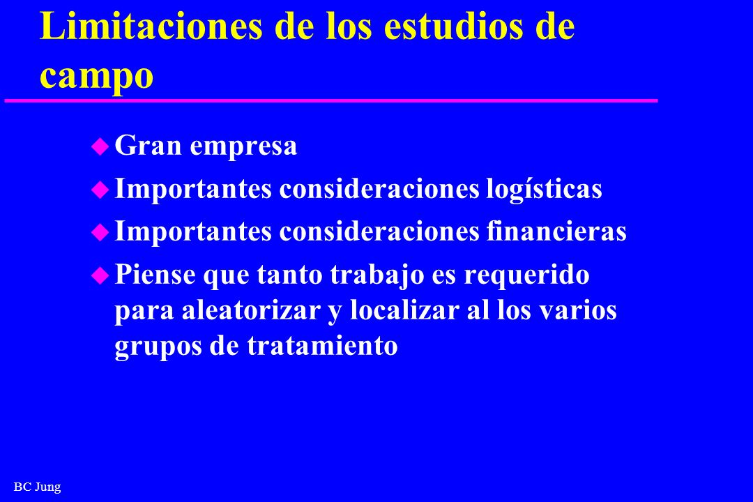 BC Jung Limitaciones de los estudios de campo u Gran empresa u Importantes consideraciones logísticas u Importantes consideraciones financieras u Pien