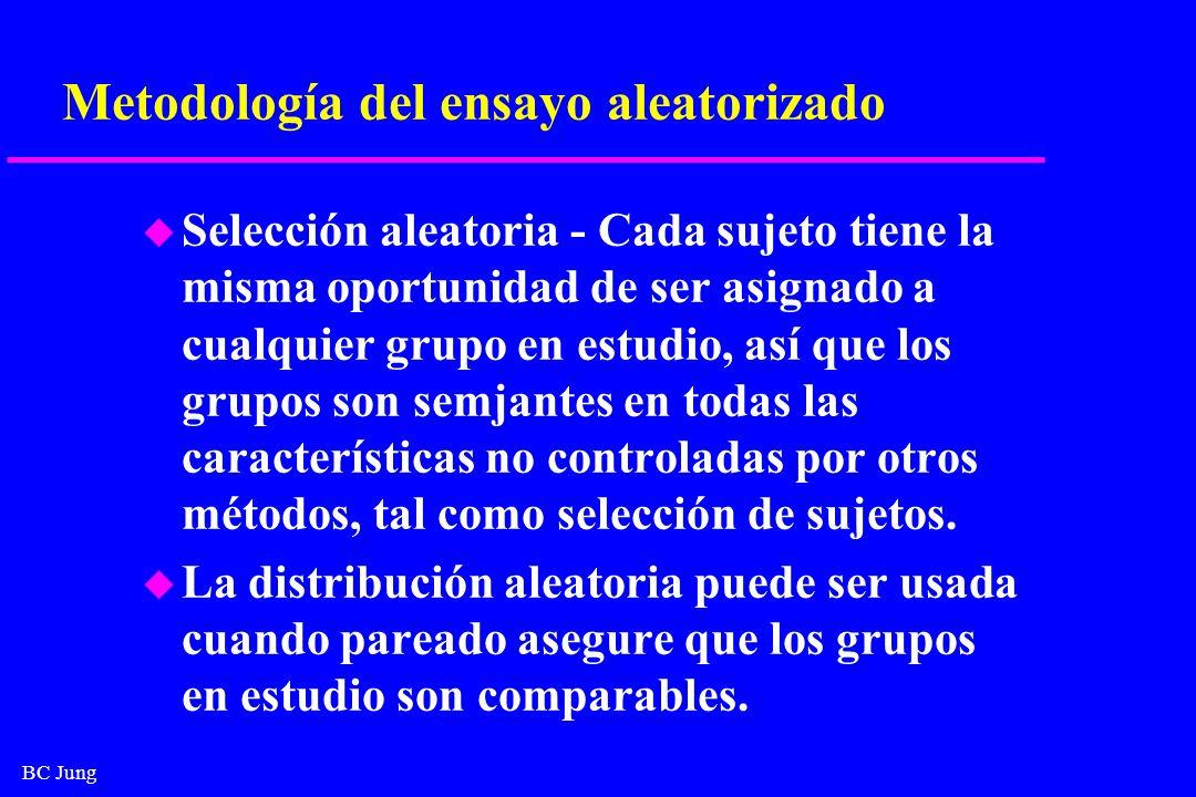 BC Jung Metodología del ensayo aleatorizado u Selección aleatoria - Cada sujeto tiene la misma oportunidad de ser asignado a cualquier grupo en estudi