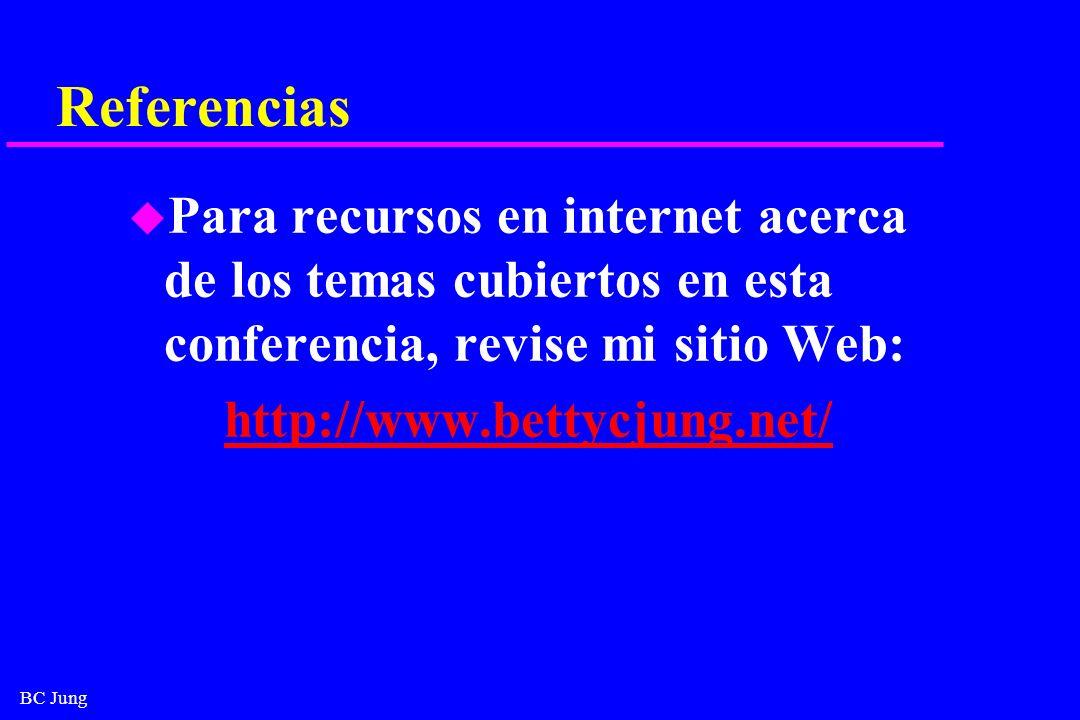 BC Jung Referencias u Para recursos en internet acerca de los temas cubiertos en esta conferencia, revise mi sitio Web: http://www.bettycjung.net/