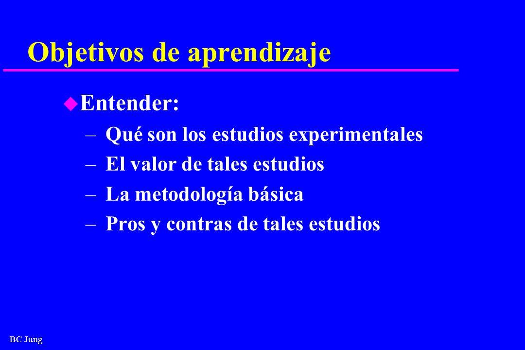 BC Jung Objetivos de aprendizaje u Entender: – Qué son los estudios experimentales – El valor de tales estudios – La metodología básica – Pros y contr