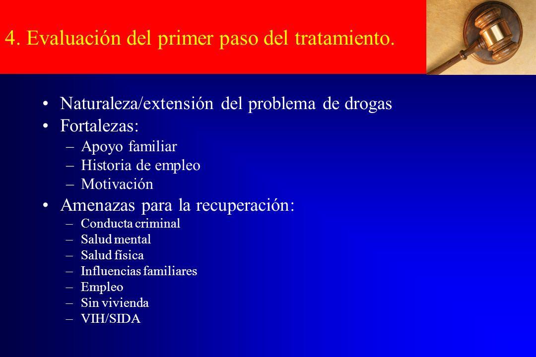 4. Evaluación del primer paso del tratamiento. Naturaleza/extensión del problema de drogas Fortalezas: –Apoyo familiar –Historia de empleo –Motivación