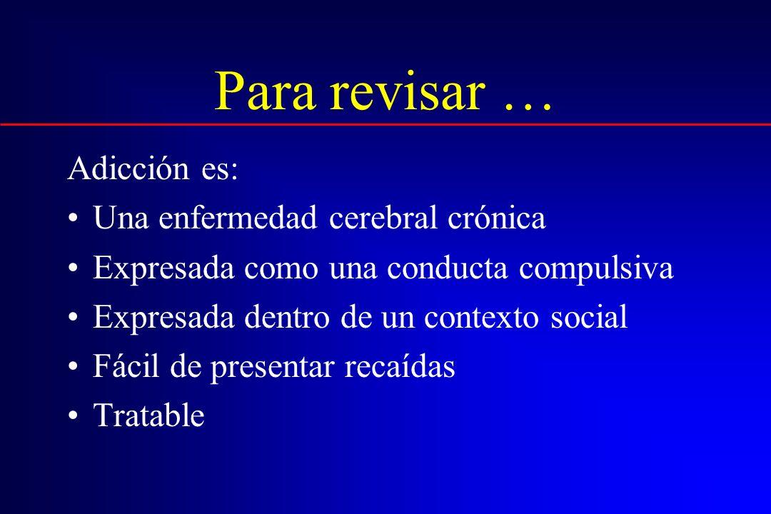 Para revisar … Adicción es: Una enfermedad cerebral crónica Expresada como una conducta compulsiva Expresada dentro de un contexto social Fácil de pre