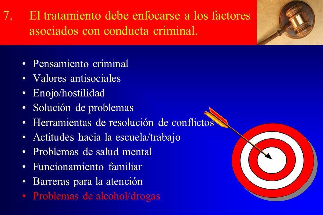 7.El tratamiento debe enfocarse a los factores asociados con conducta criminal. Pensamiento criminal Valores antisociales Enojo/hostilidad Solución de