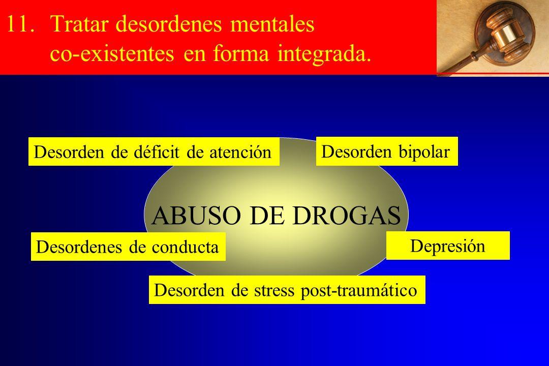 11.Tratar desordenes mentales co-existentes en forma integrada. ABUSO DE DROGAS Depresión Desorden de déficit de atención Desordenes de conducta Desor