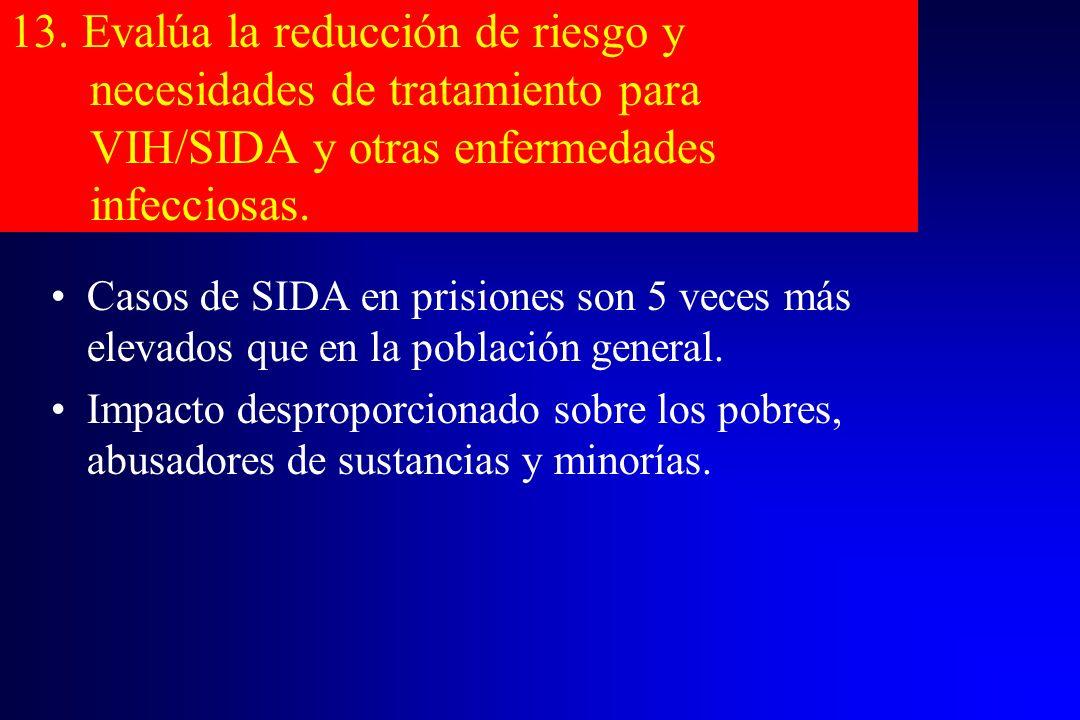 13. Evalúa la reducción de riesgo y necesidades de tratamiento para VIH/SIDA y otras enfermedades infecciosas. Casos de SIDA en prisiones son 5 veces
