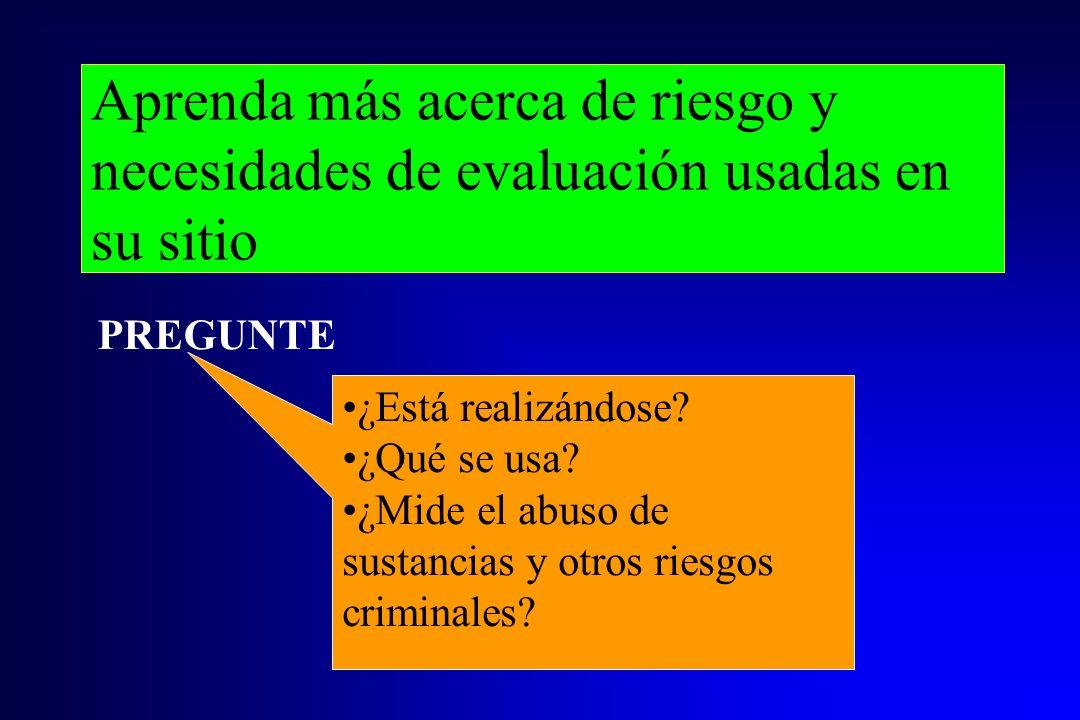 Aprenda más acerca de riesgo y necesidades de evaluación usadas en su sitio ¿Está realizándose? ¿Qué se usa? ¿Mide el abuso de sustancias y otros ries