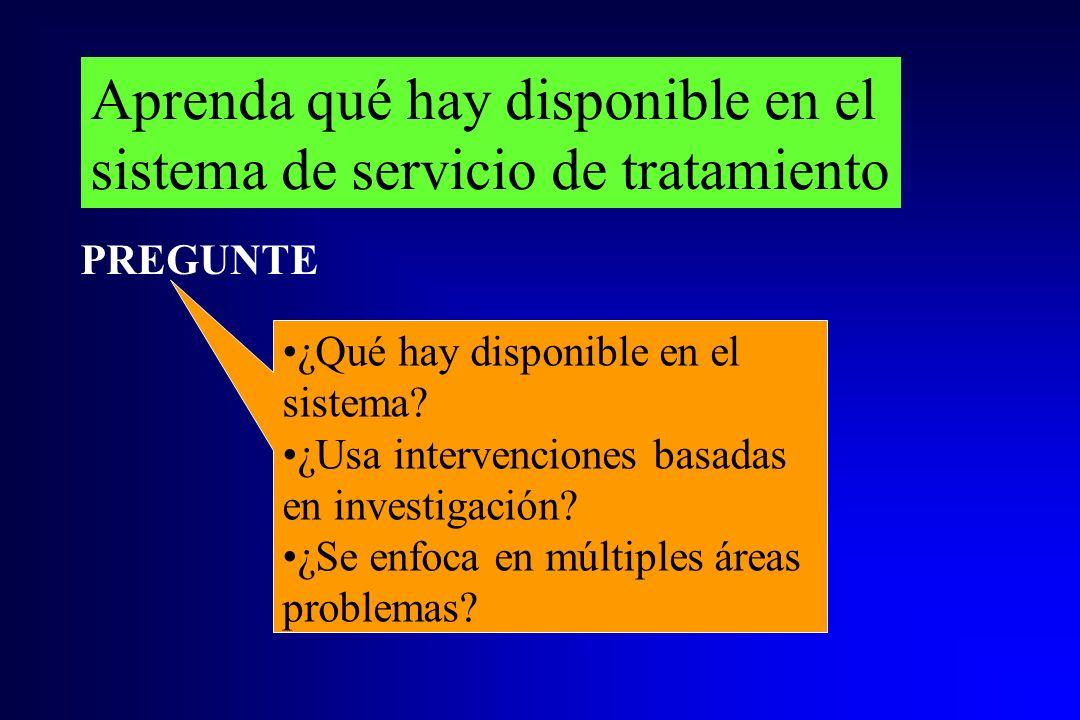 Aprenda qué hay disponible en el sistema de servicio de tratamiento ¿Qué hay disponible en el sistema? ¿Usa intervenciones basadas en investigación? ¿