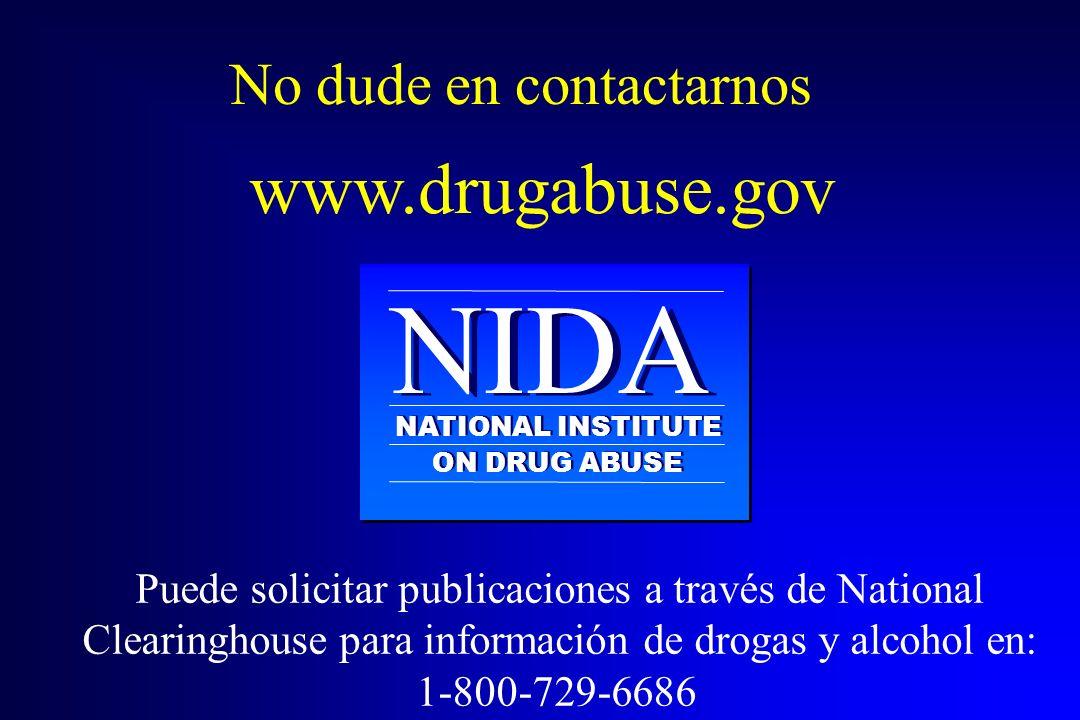 NIDA NATIONAL INSTITUTE ON DRUG ABUSE www.drugabuse.gov No dude en contactarnos Puede solicitar publicaciones a través de National Clearinghouse para