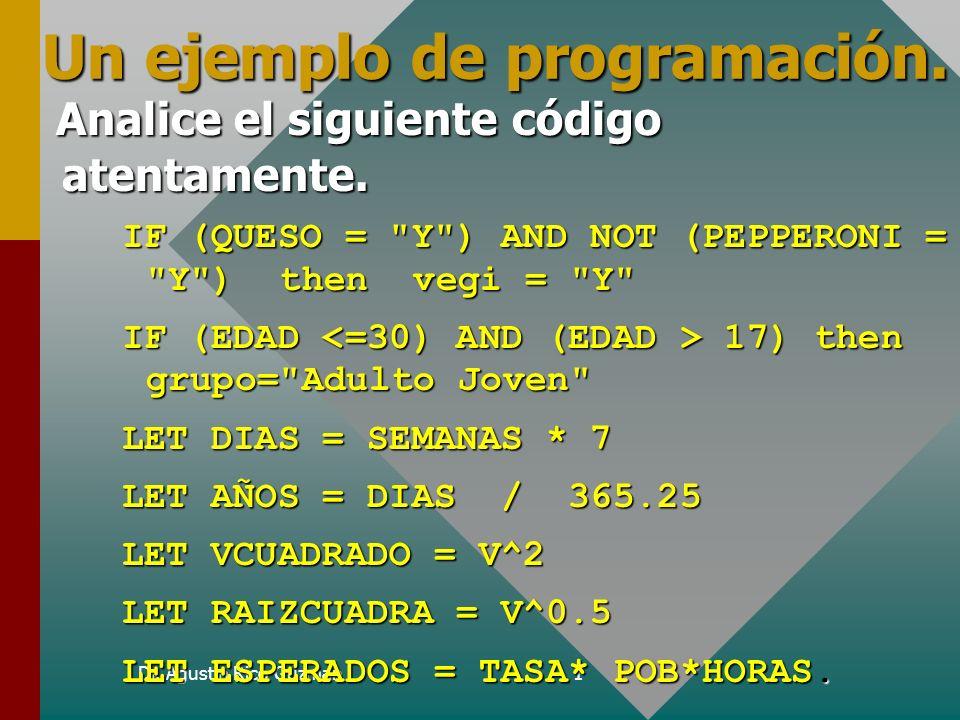 Dr. Agustin Rico Guzman1 Un ejemplo de programación. Analice el siguiente código atentamente. Analice el siguiente código atentamente. IF (QUESO =