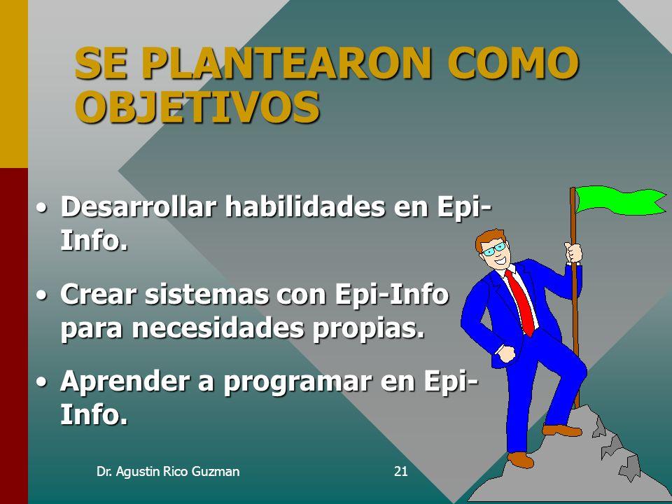 Dr. Agustin Rico Guzman21 SE PLANTEARON COMO OBJETIVOS Desarrollar habilidades en Epi- Info.Desarrollar habilidades en Epi- Info. Crear sistemas con E