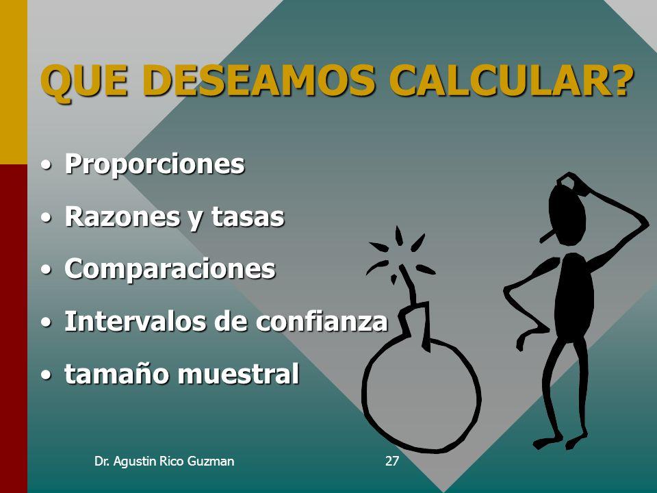 Dr. Agustin Rico Guzman27 QUE DESEAMOS CALCULAR? ProporcionesProporciones Razones y tasasRazones y tasas ComparacionesComparaciones Intervalos de conf