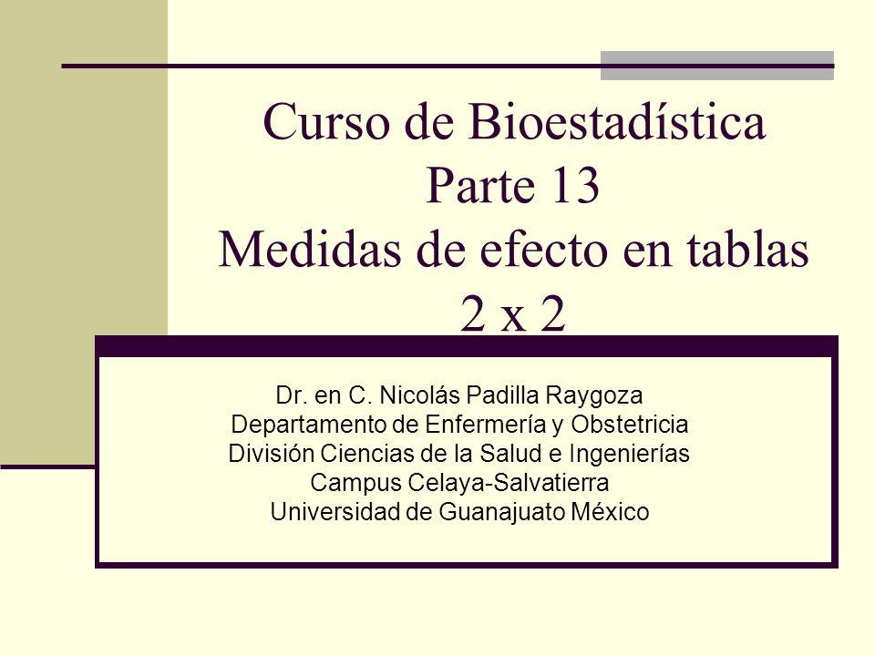 Curso de Bioestadística Parte 13 Medidas de efecto en tablas 2 x 2 Dr. en C. Nicolás Padilla Raygoza Departamento de Enfermería y Obstetricia División