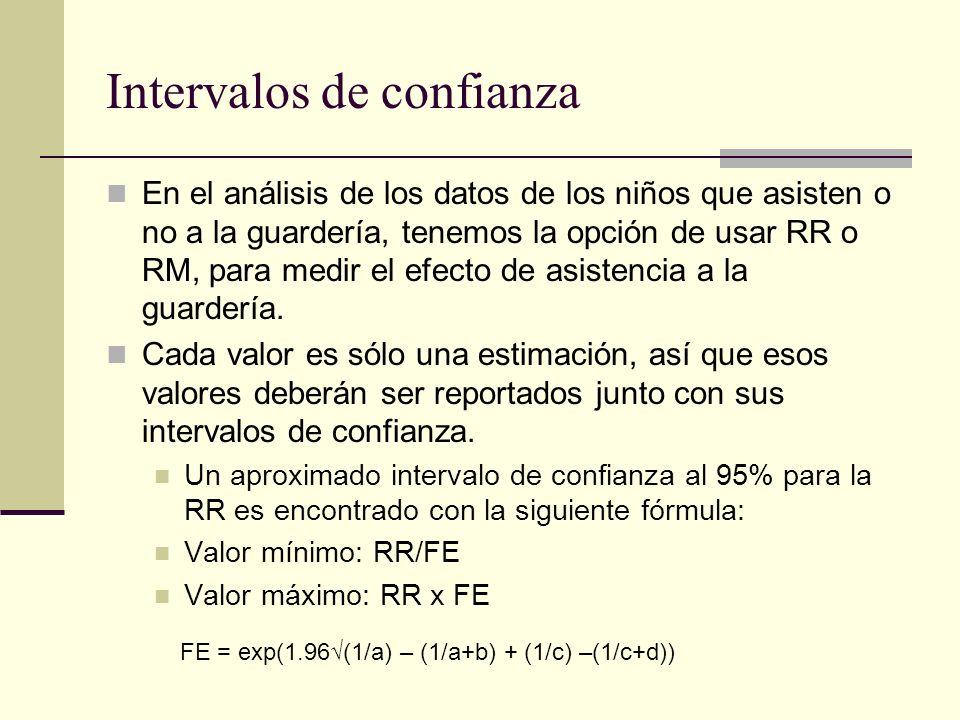 Intervalos de confianza En el análisis de los datos de los niños que asisten o no a la guardería, tenemos la opción de usar RR o RM, para medir el efe