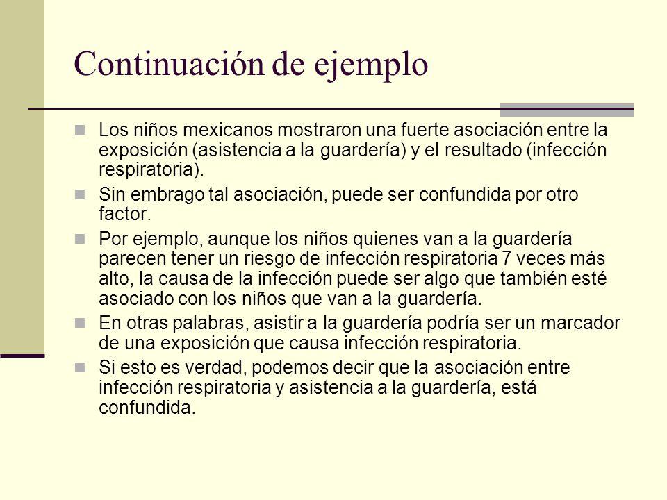 Continuación de ejemplo Los niños mexicanos mostraron una fuerte asociación entre la exposición (asistencia a la guardería) y el resultado (infección