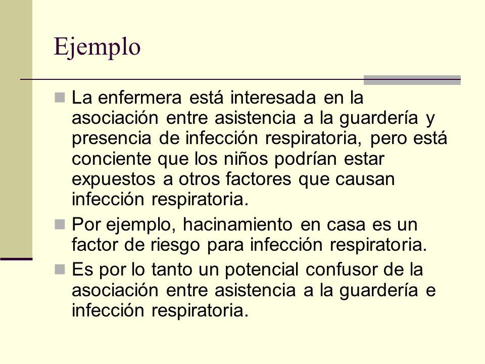 Ejemplo La enfermera está interesada en la asociación entre asistencia a la guardería y presencia de infección respiratoria, pero está conciente que l