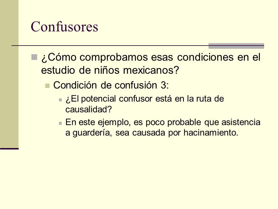 Confusores ¿Cómo comprobamos esas condiciones en el estudio de niños mexicanos? Condición de confusión 3: ¿El potencial confusor está en la ruta de ca
