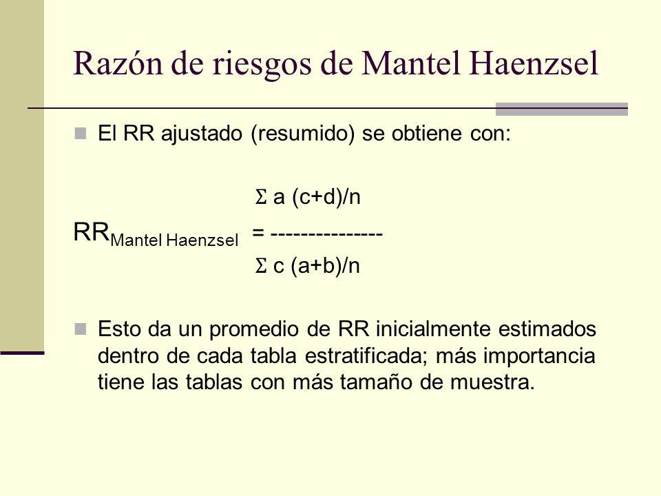 Razón de riesgos de Mantel Haenzsel El RR ajustado (resumido) se obtiene con: Ʃ a (c+d)/n RR Mantel Haenzsel = --------------- Ʃ c (a+b)/n Esto da un