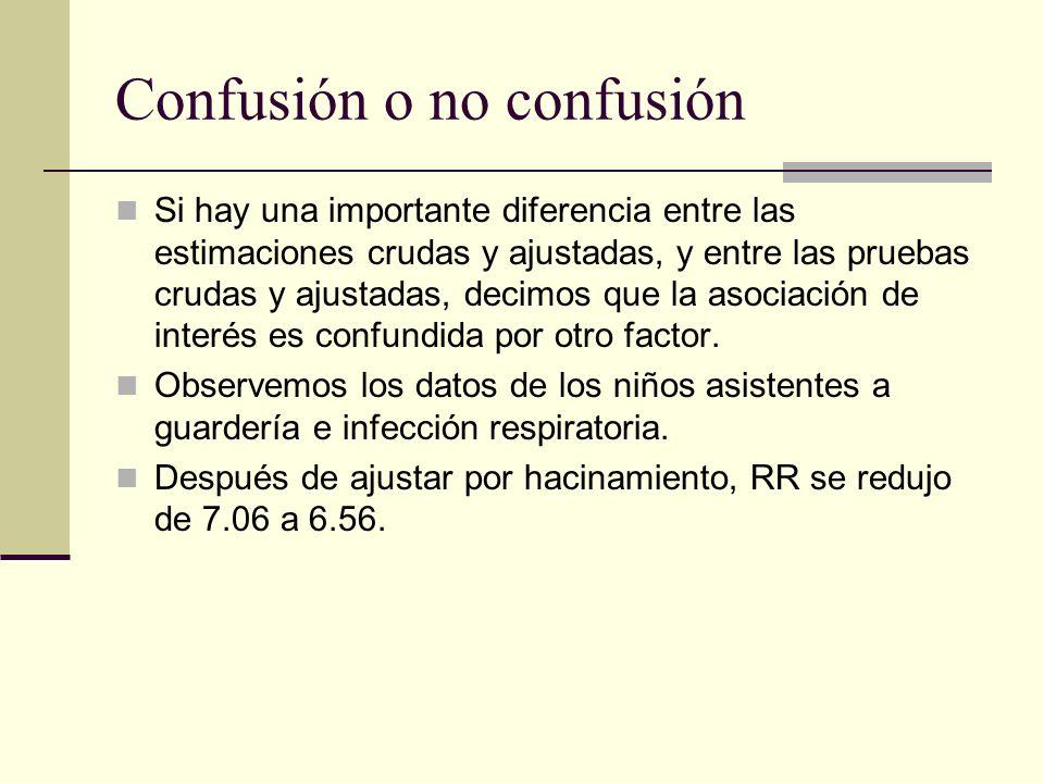 Confusión o no confusión Si hay una importante diferencia entre las estimaciones crudas y ajustadas, y entre las pruebas crudas y ajustadas, decimos q