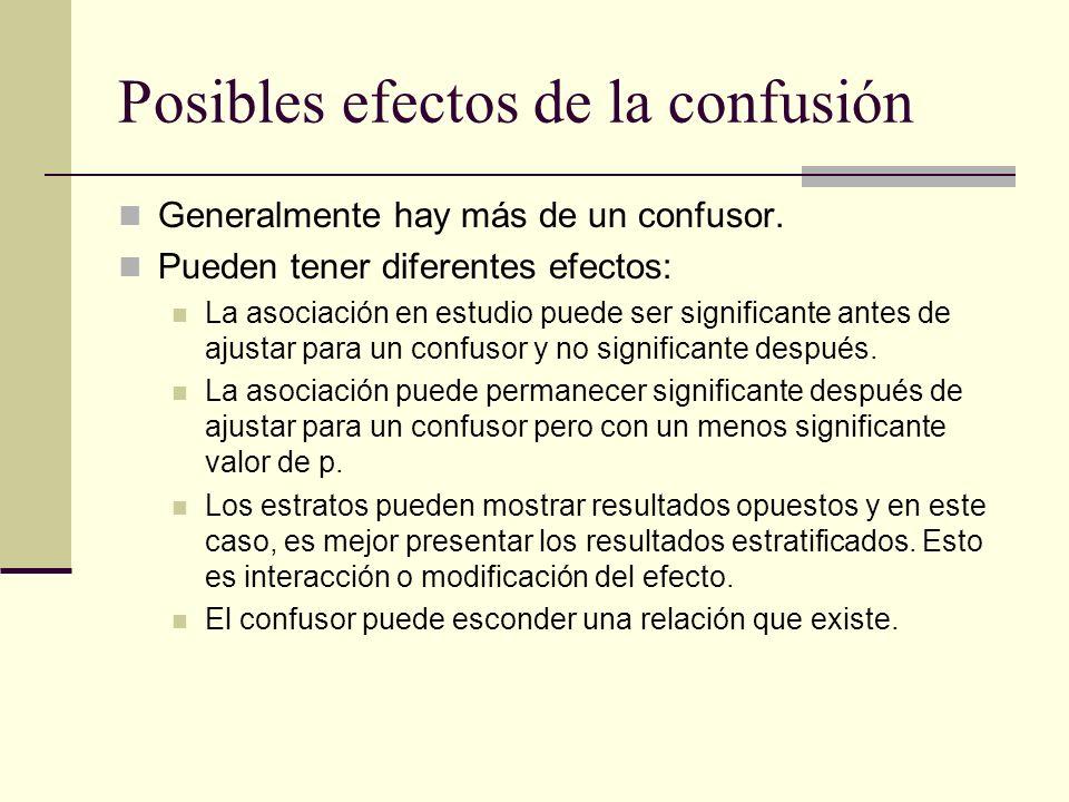 Posibles efectos de la confusión Generalmente hay más de un confusor. Pueden tener diferentes efectos: La asociación en estudio puede ser significante