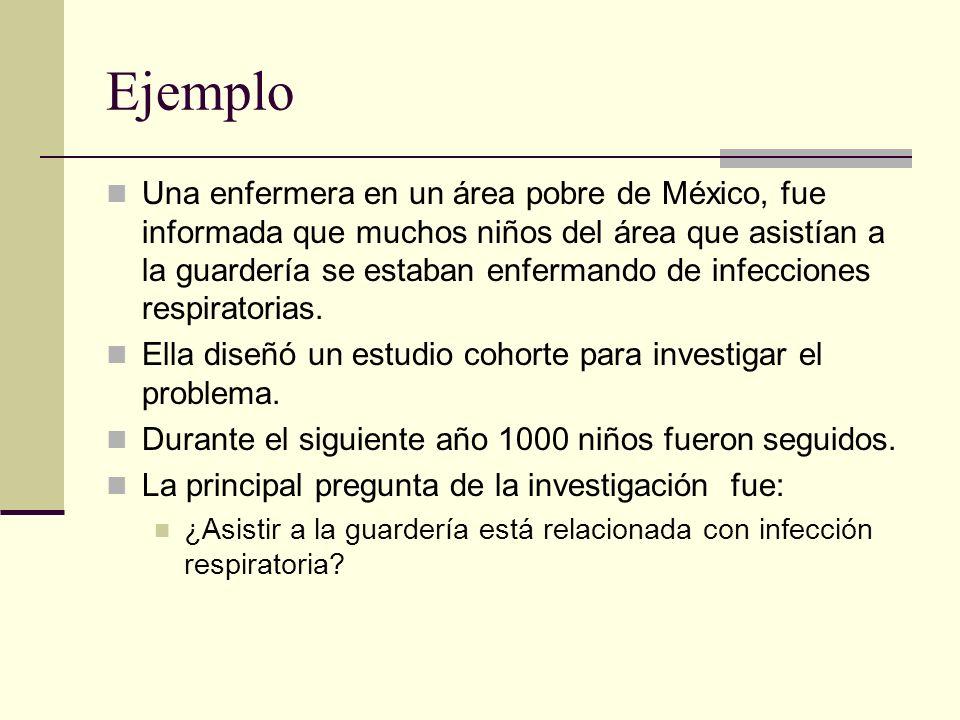 Ejemplo Una enfermera en un área pobre de México, fue informada que muchos niños del área que asistían a la guardería se estaban enfermando de infecci