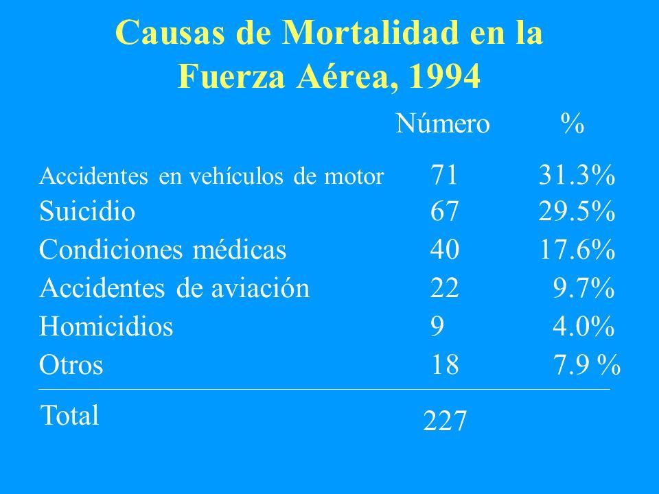Causas de Mortalidad en la Fuerza Aérea, 1994 Número 227 % Accidentes en vehículos de motor 7131.3% Suicidio6729.5% Condiciones médicas4017.6% Acciden