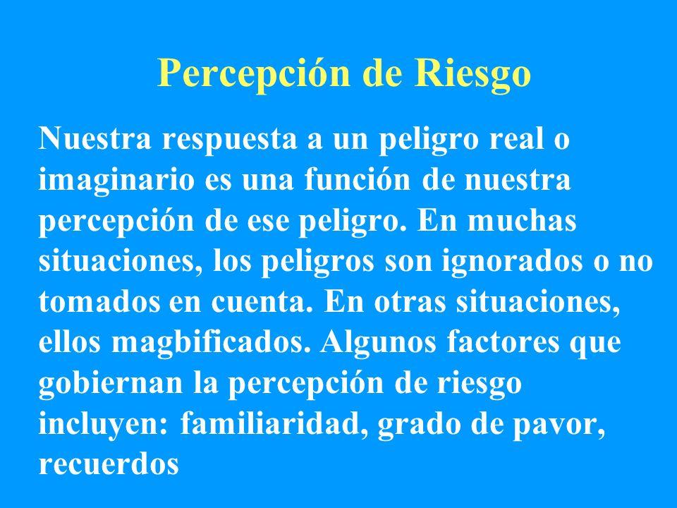 Percepción de Riesgo Nuestra respuesta a un peligro real o imaginario es una función de nuestra percepción de ese peligro. En muchas situaciones, los