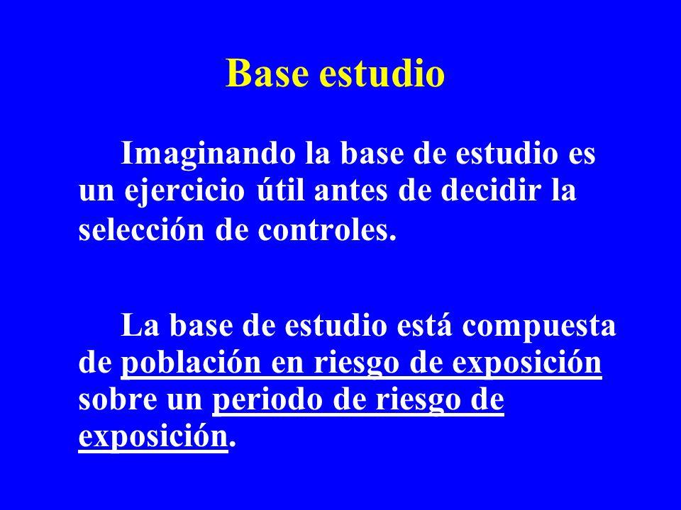 Base estudio Imaginando la base de estudio es un ejercicio útil antes de decidir la selección de controles. La base de estudio está compuesta de pobla