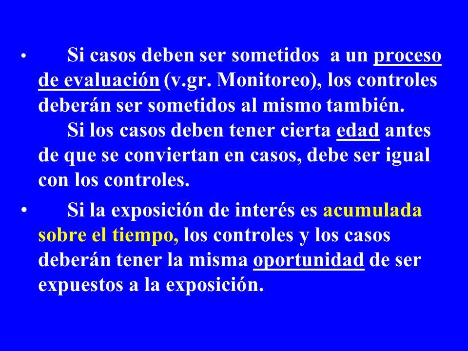Si casos deben ser sometidos a un proceso de evaluación (v.gr. Monitoreo), los controles deberán ser sometidos al mismo también. Si los casos deben te