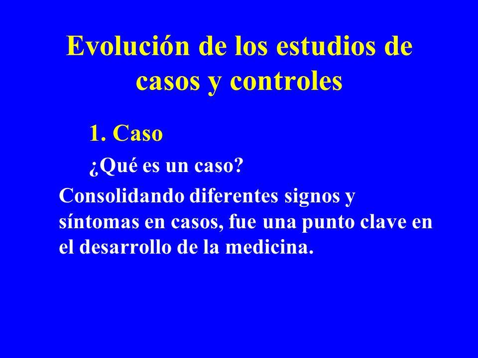 Evolución de los estudios de casos y controles 1. Caso ¿Qué es un caso? Consolidando diferentes signos y síntomas en casos, fue una punto clave en el