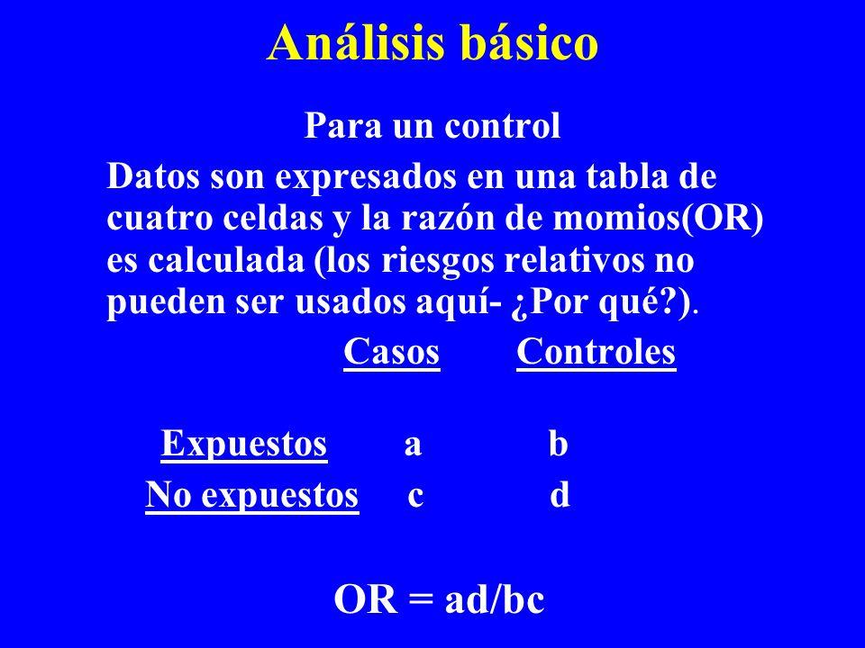 Análisis básico Para un control Datos son expresados en una tabla de cuatro celdas y la razón de momios(OR) es calculada (los riesgos relativos no pue