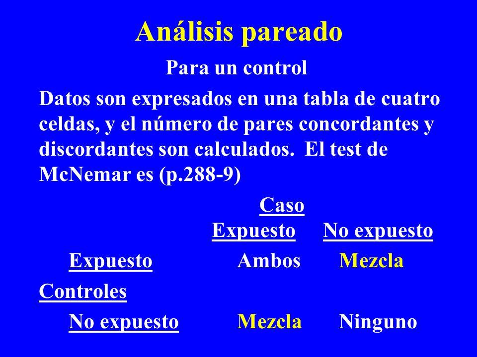 Análisis pareado Para un control Datos son expresados en una tabla de cuatro celdas, y el número de pares concordantes y discordantes son calculados.