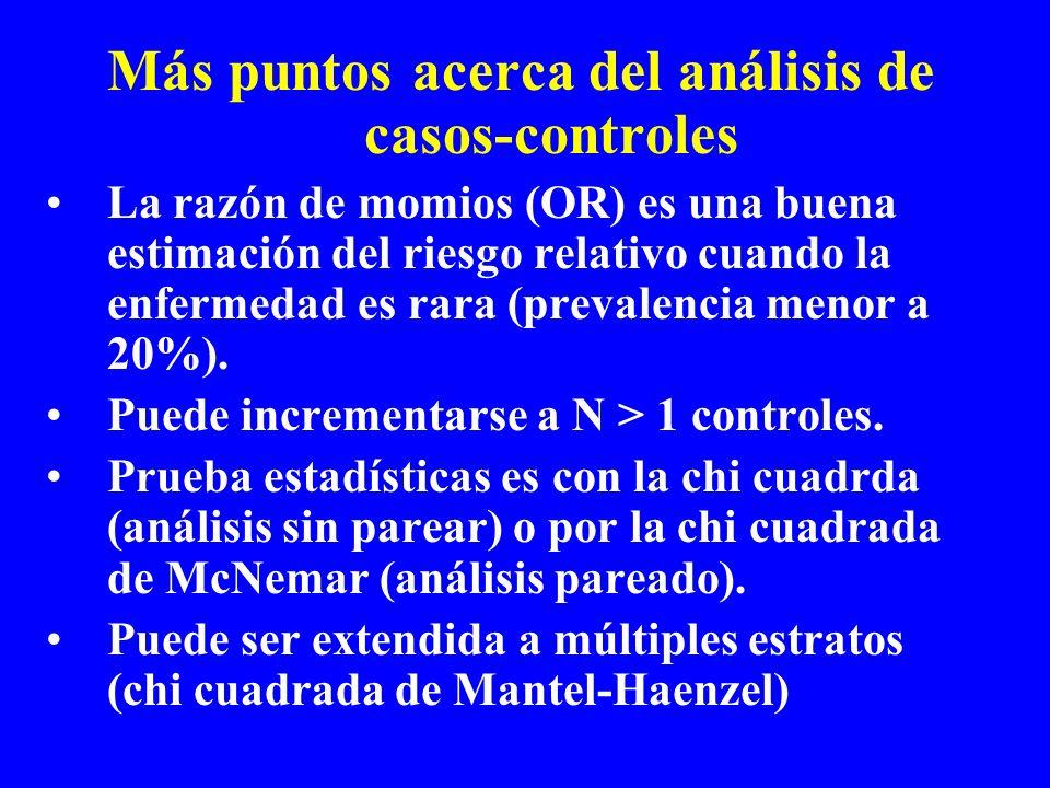 Más puntos acerca del análisis de casos-controles La razón de momios (OR) es una buena estimación del riesgo relativo cuando la enfermedad es rara (pr