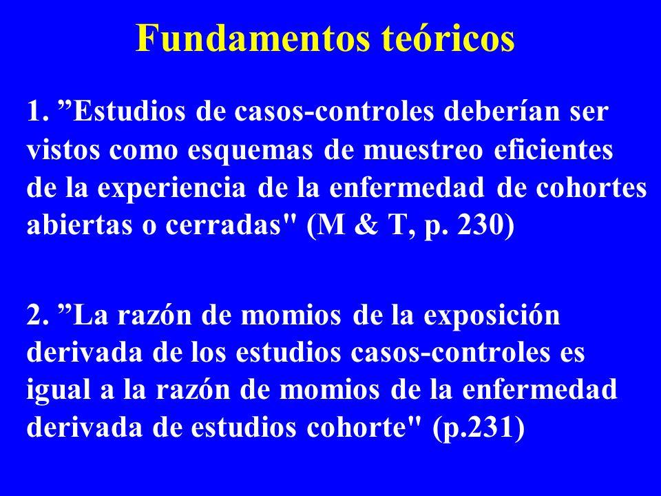 Fundamentos teóricos 1. Estudios de casos-controles deberían ser vistos como esquemas de muestreo eficientes de la experiencia de la enfermedad de coh