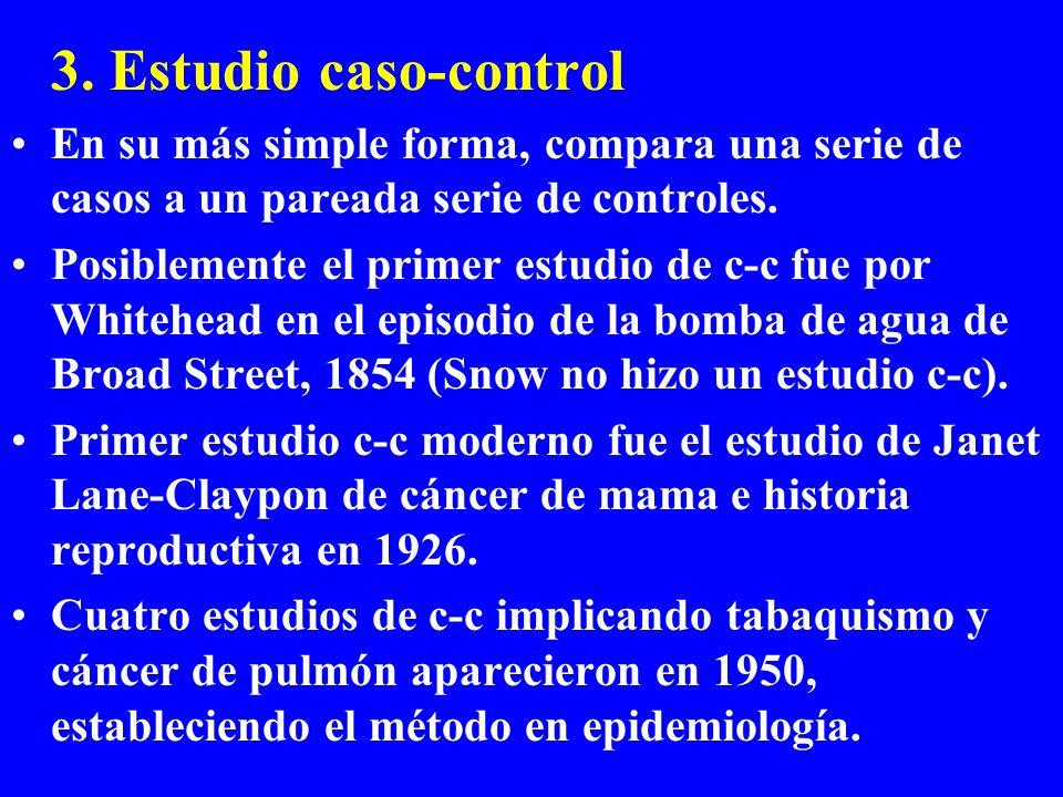 3. Estudio caso-control En su más simple forma, compara una serie de casos a un pareada serie de controles. Posiblemente el primer estudio de c-c fue