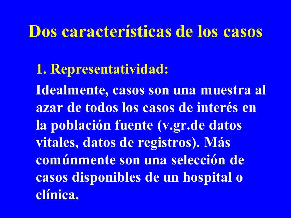 Dos características de los casos 1. Representatividad: Idealmente, casos son una muestra al azar de todos los casos de interés en la población fuente