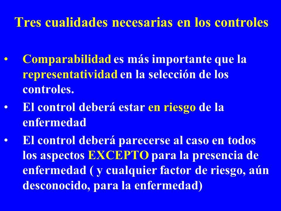 Tres cualidades necesarias en los controles Comparabilidad es más importante que la representatividad en la selección de los controles. El control deb