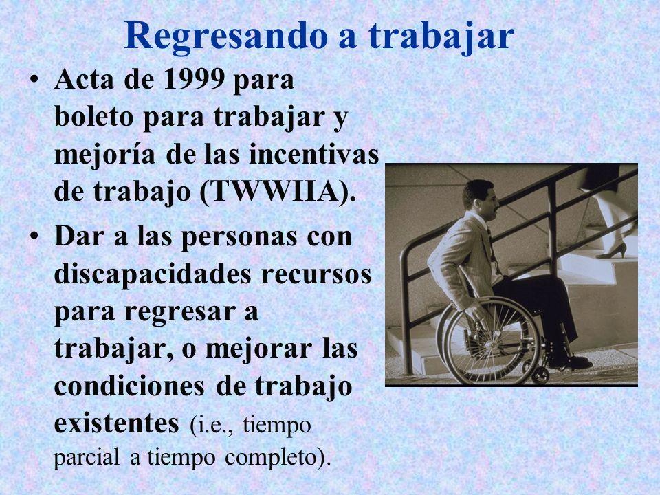 Regresando a trabajar Acta de 1999 para boleto para trabajar y mejoría de las incentivas de trabajo (TWWIIA). Dar a las personas con discapacidades re