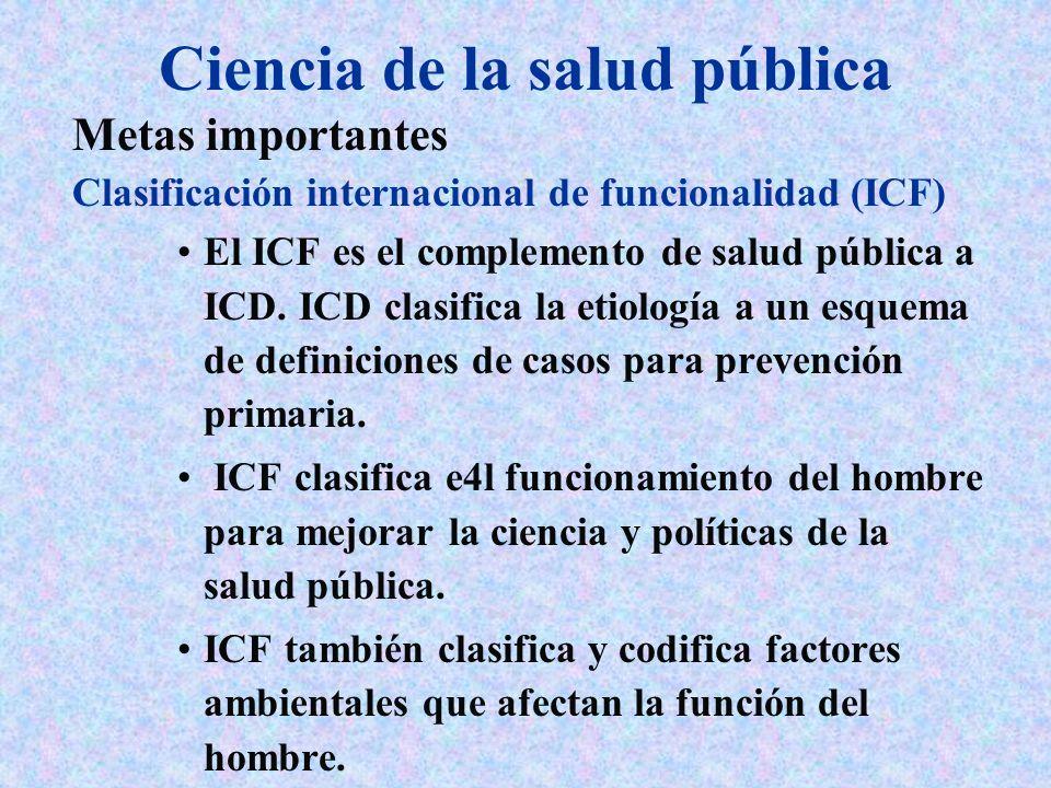 Ciencia de la salud pública Metas importantes Clasificación internacional de funcionalidad (ICF) El ICF es el complemento de salud pública a ICD. ICD