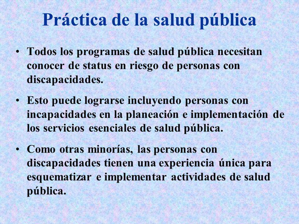 Práctica de la salud pública Todos los programas de salud pública necesitan conocer de status en riesgo de personas con discapacidades. Esto puede log