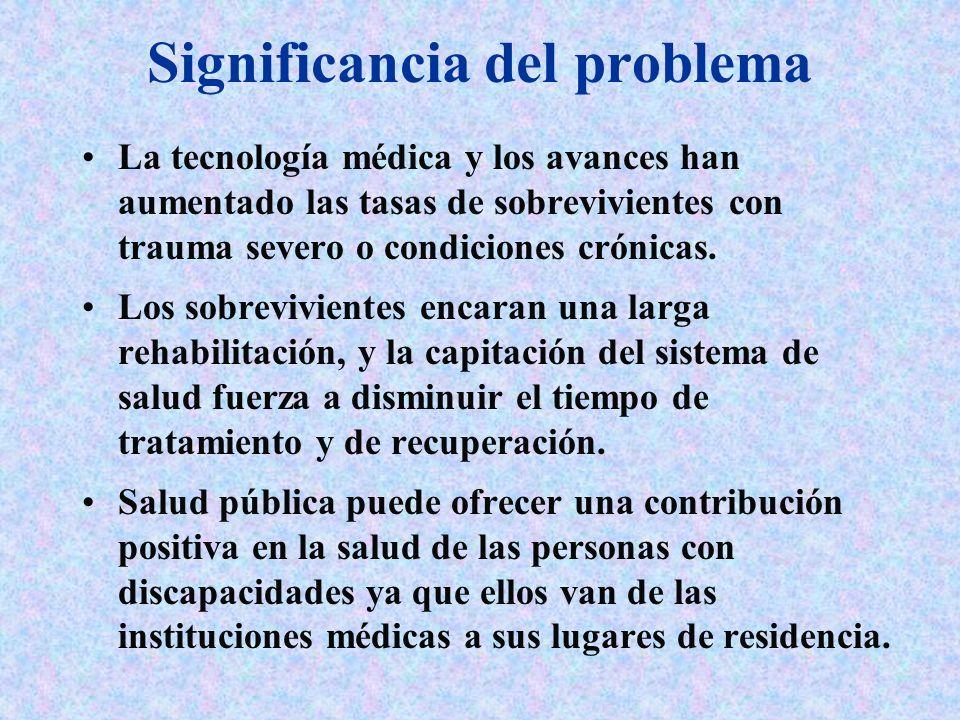 Significancia del problema La tecnología médica y los avances han aumentado las tasas de sobrevivientes con trauma severo o condiciones crónicas. Los